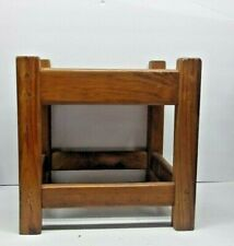 Vintage Collectible Wooden Kids Foot Stool Bench Tapestry Insert