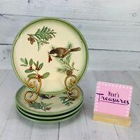 Pfaltzgraff WINTERWOOD Canvas Tan Birds Holly Berries  Salad Lunch Plates Set 4