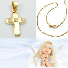 Kinder Kreuz mit Zirkonia Echt Gold 750 (18 Kt) mit Kette Silber 925 vergoldet