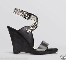 New $295 Elie Tahari Weston Snakeskin Wedges Sandals Black & Silver Sz 38 / 7.5