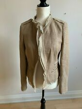 Escada sport women tweed beige tan jacket blazer sz 36 (small) ruffled edges