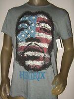 Nwt Men's Small Gray Jimi Hendrix Face Stars Flag Rock Band Graphic Tee Shirt