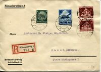 GERMANY Registered Airmail Cover Stamps Postage Label Braunschweig 1936