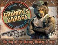 Grumpy's Garage Vintage Retro Tin Metal Sign 13 x 16in