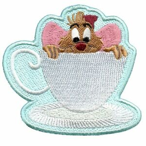 Official Cinderella Jaq In Tea Cup Embroidered Iron On Applique Patch