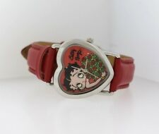 Betty Boop with Bouquet of Red Roses Heart Shaped Bezel Red Leather Watch