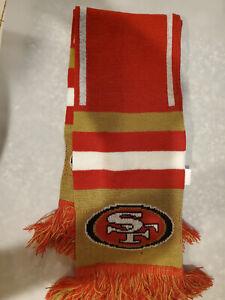 "San Francisco 49ers NFL Knit Scarf BIG LOGO Double Sided Logo New Style 60"" long"