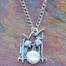 DRUM SET Necklace Drummer's Band Charm Pendant 925 sterling silver