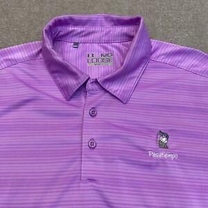 Under Armour HeatGear Men's Golf Polo Purple Shirt Size M Pasatiempo Golf Club