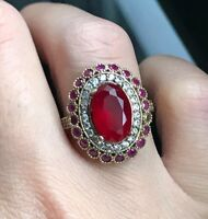 925 Sterling Silver Handmade Gemstone Turkish Ruby Ladies Ring Size 6-11