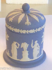 ❤️WEDGWOOD JASPERWARE ~2PC CIGARETTE JAR~ BLUE Trinket Dish Covered Box 1967❤️