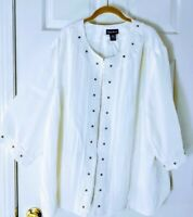 Maggie Barnes plus 30/32 4X size white Rayon blend Embroidered 3/4 Slv jacket...