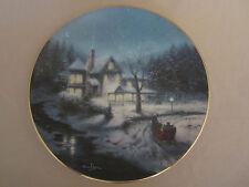MOONLIT SLEIGH RIDE collector plate THOMAS KINKADE Yuletide Memories 3 CHRISTMAS