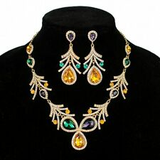 Mardi Gras Teardrop Cluster Necklace & Earrings Set faux diamonds Parade Costume