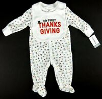 Carters Babys First Thanksgiving Footed 1 Pc w/Bib Boy Girl Size 3 Month 6 Month