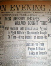 Best 1919 newspaper JACK JOHNSON says his BOXING LOSS to JESS WILLARD was FIXED