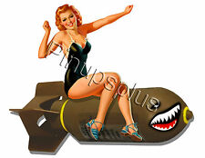 Retro Bomber Art Pinup Girl Waterslide Decal Stickers Great for guitars S733