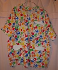Bright Hand Prints on White Scrubs Top with 3 Pockets for Size 3X  FSMTP48