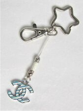 #5191 - STAR SILVERTONE KEYCHAIN WITH LOBSTER CLASP BLUE and WHITE CHARM - CUTE!