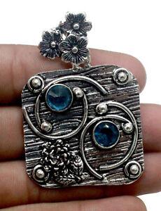 Handmade 925 Sterling Silver Green Tourmaline Gemstone Jewelry Pendant Size-1.80
