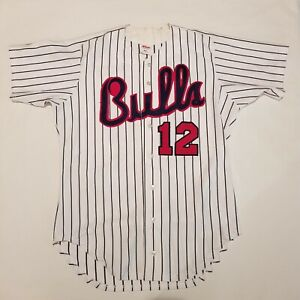 VTG 80s Wilson Baseball Pinstripe Jersey Durham Bulls Chicago Bulls Adult Sz 44