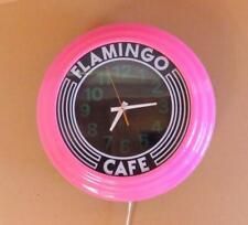 Art Deco Pink Flamingo Cafe Wall Clock