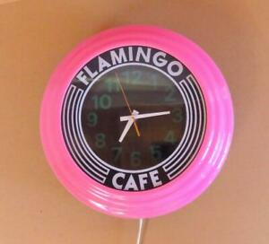 Art Deco Pink Flamingo Cafe Wall Clock