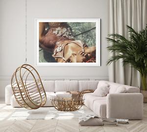 serene summer swimsuit  portrait Wall Art Print, Canvas A4,A3,A2,A1,A0, On trend