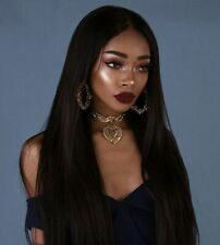 Fashion Women Black Long Straight Synthetic Lace Front Wigs Heat-Resistant USA