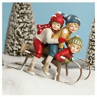Bethany Lowe Children Winter Sledding Trio Christmas Retro Vntg Figurine Decor