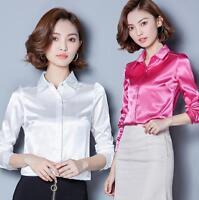 Women Silk Blend Long Sleeve Vogue Lapel Career OL Business Leisure Shirt Blouse