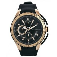 NEW ARMANI EXCHANGE ROSE GOLD,BLACK SILICONE BAND,CHRONOGRAPH WATCH AX1406