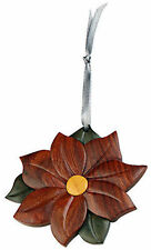 INTARSIA WOOD POINSETTIA ORNAMENT,handcrafted wood mosaic,double sided w/ ribbon