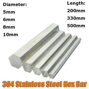 5/6/8/10mm Diameter 304 Stainless Steel Hex Rod Bar Shaft 200mm/330mm/500mm Long