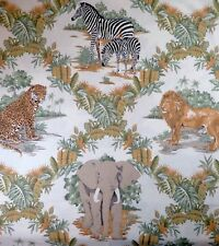 Cotton Quilt Sewing African Animal Print Tigers Elephants Cheetahs - BTY