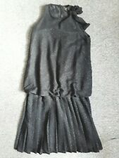 Vintage 70s 20s style art deco flapper black drop-waist party dress size S