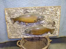 """Two vintage Huge 20"""" Lake Trout Taxidermy Fish Mount Fishing Lodge Cabin Decor"""