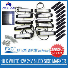 10 X 12V SUPERFLUX LED WHITE MARKER/CLEARANCE LIGHT - Boat/Trailer/Truck/Caravan
