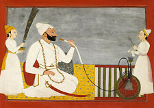 PAINTING 18TH CENTURY INDIAN RAJA AJMAT DEV SMOKING HOOKAH POSTER PRINT LLF0095