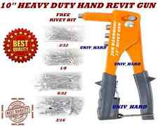 "MEGA PROFESSIONAL 10"" Hand Rivet Gun 4 Interchangeable Tips.(Free 4 size Rivets)"