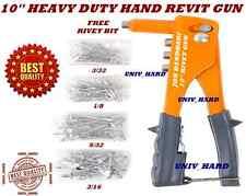 """10"""" Hand Rivet Gun - Heavy Duty - 4 Interchangeable Tips.(Free 4 size Rivet bit)"""