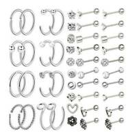 36pcs Stainless Steel Nose Ring Tragus Helix Cartilage Studs Ear Lip Hoop 16/20G
