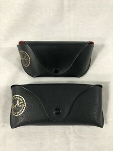 Ray Ban Brand Leather Case LOT Of 2 Black Cases One Made In Italy