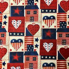 America Heart Houses Patchwork Stars Sewing Quilting Fabric FQ Cream Blue Red