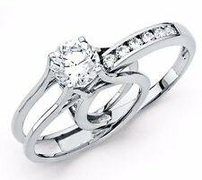 2 Ct Round Cut 2 Piece Engagement Wedding Ring Band Set Platinum Finish