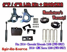 "2014+  Chevrolet Silverado GMC Sierra 1500  6"" / 4"" Spindle LIFT KIT + SHOCKS"