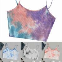 Womens Tie-dye Crop Top Summer Sleeveless Spaghetti Strap Vest Tank Camisole
