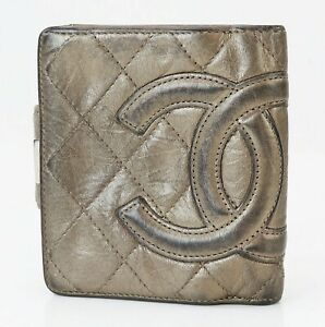 Authentic CHANEL Bronze Quilted Leather CC Bifold Wallet Coin Purse #39846