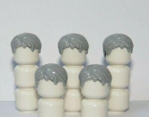 Lego 5 Man Boy Minifigure Figure Hair Wig  Short  Grey