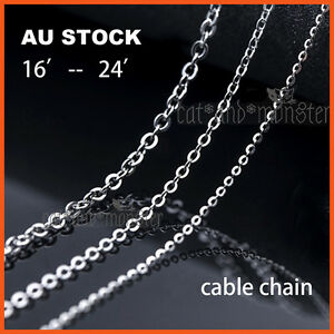 STERLING SILVER Filled WOMEN GIRLS KIDS CABLE CHAIN NECKLACE for pendant 16-24''